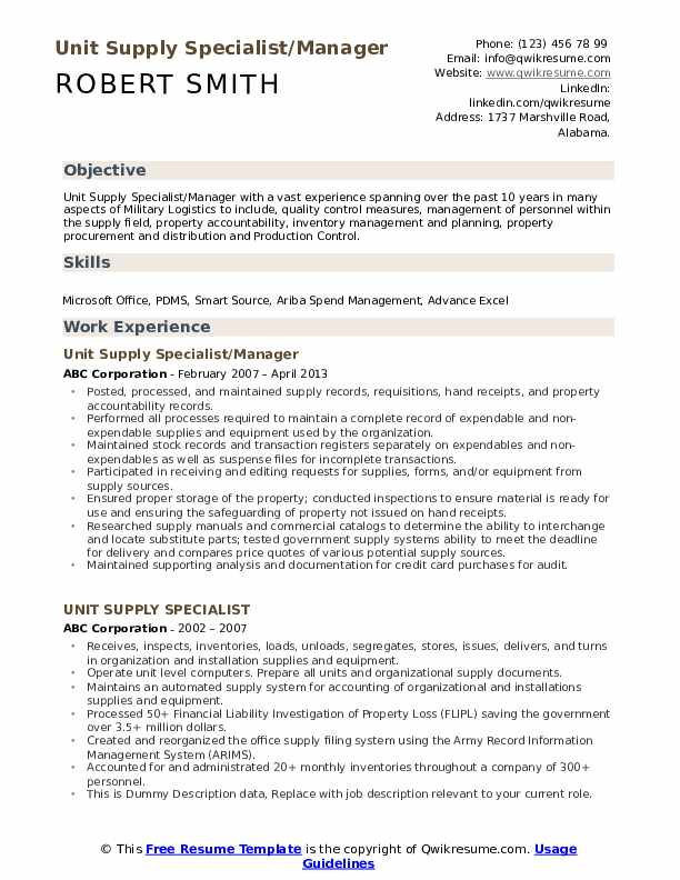 Unit Supply Specialist/Manager Resume Example