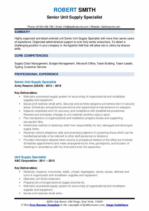 Senior Unit Supply Specialist Resume Example