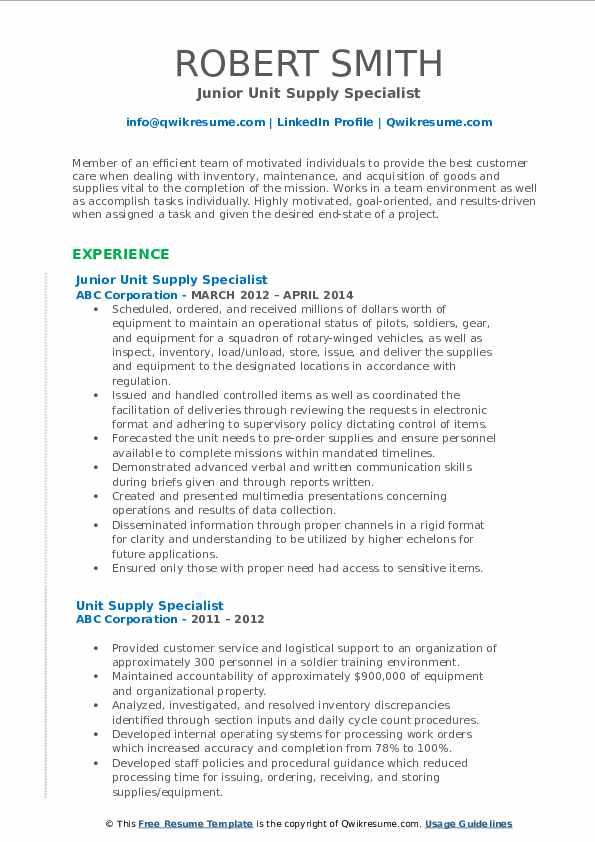 Junior Unit Supply Specialist Resume Example