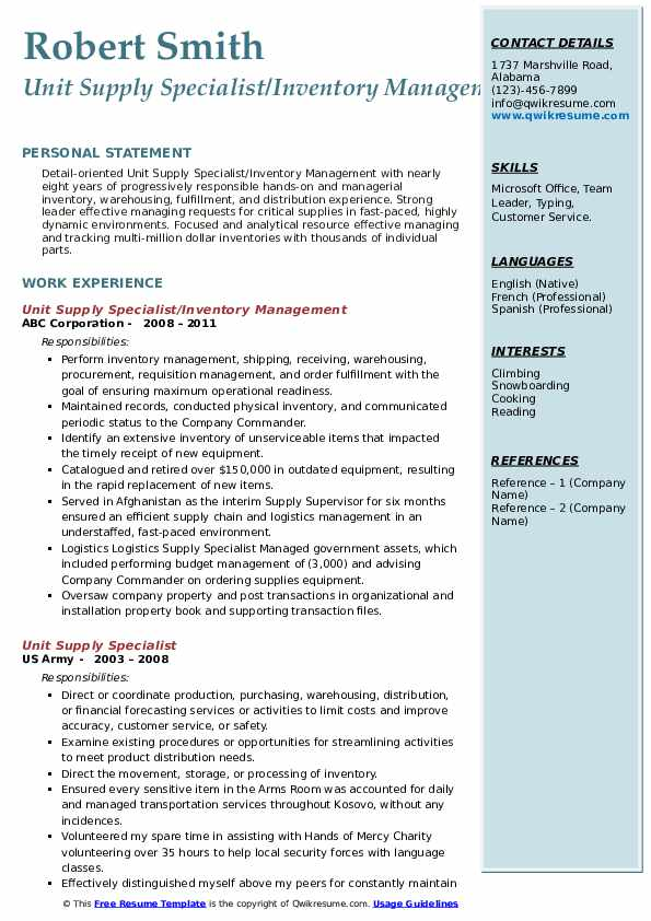 Unit Supply Specialist/Inventory Management Resume Sample