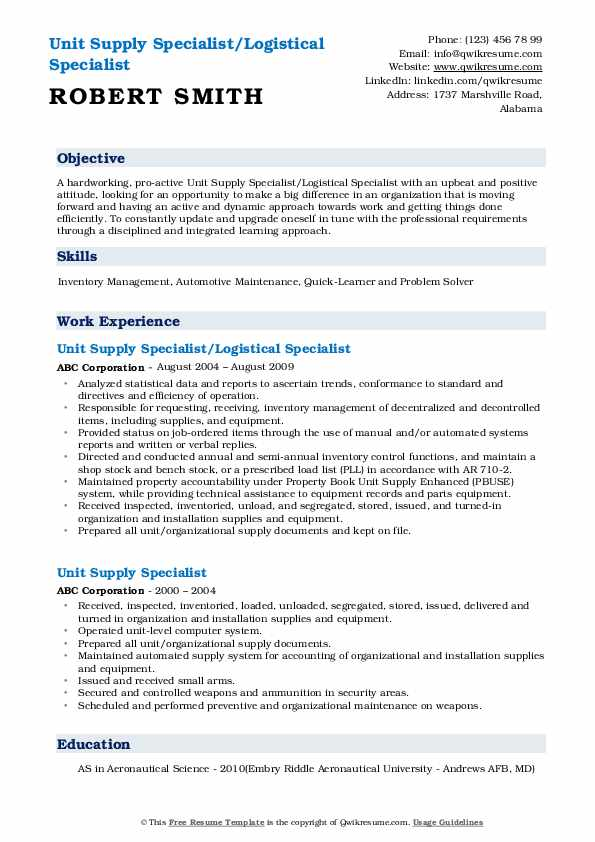 Unit Supply Specialist Resume Samples Qwikresume