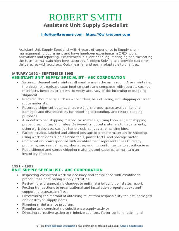 Assistant Unit Supply Specialist Resume Template