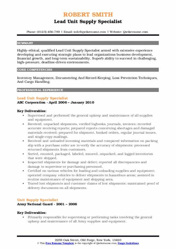 Lead Unit Supply Specialist Resume Template