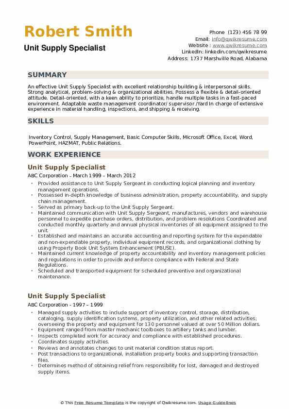 Unit Supply Specialist Resume example
