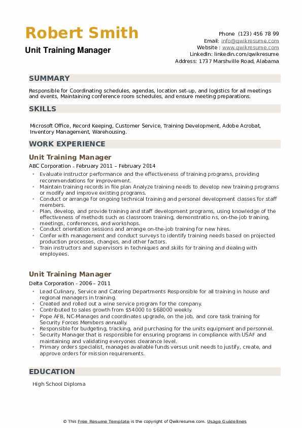 Unit Training Manager Resume example