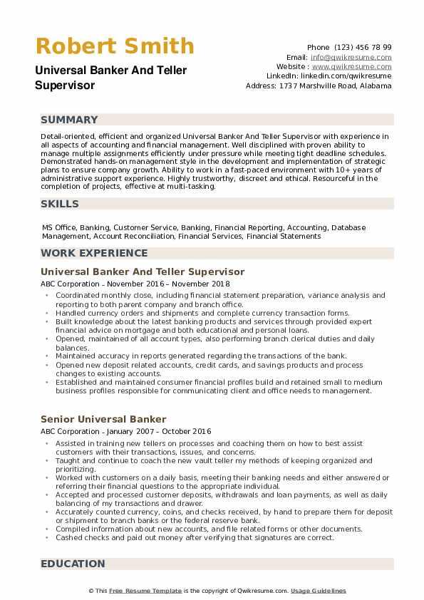 universal banker resume samples