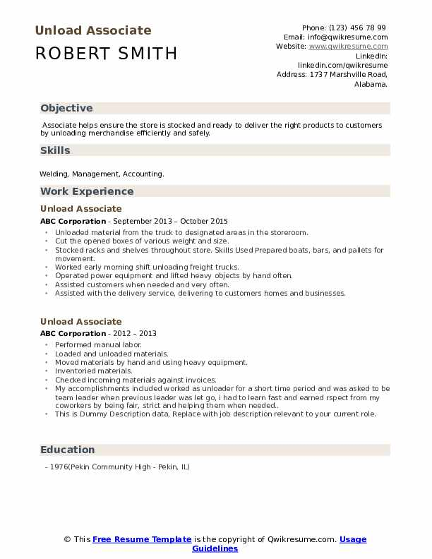 Unload Associate Resume example