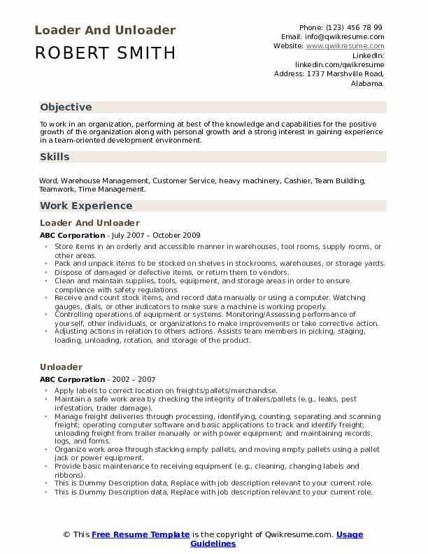 Loader And Unloader Resume Format