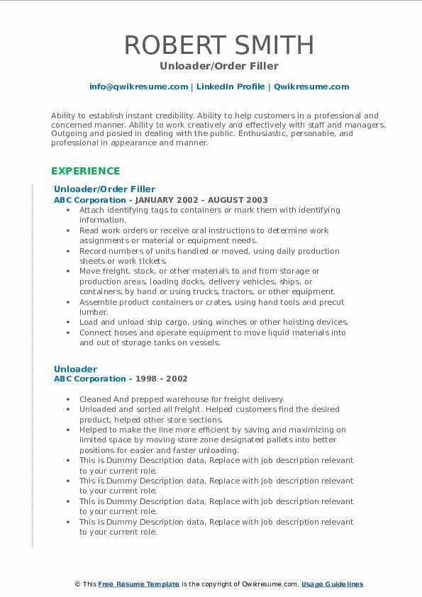 Unloader/Order Filler Resume Format