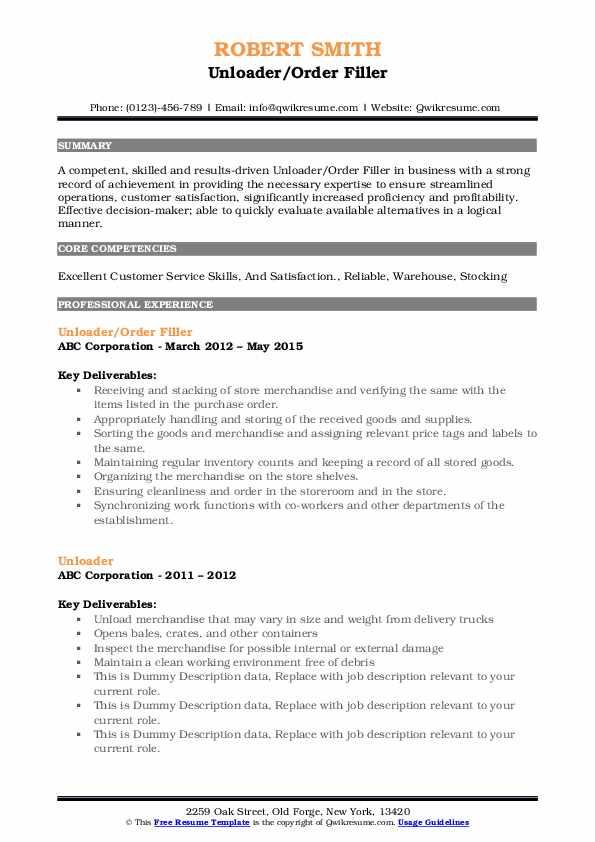 Unloader/Order Filler Resume Sample