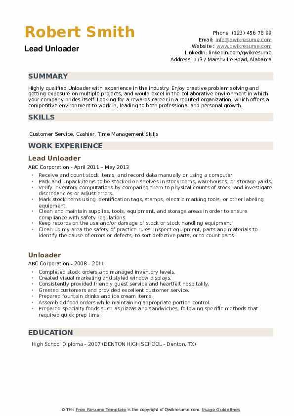 Unloader Resume example