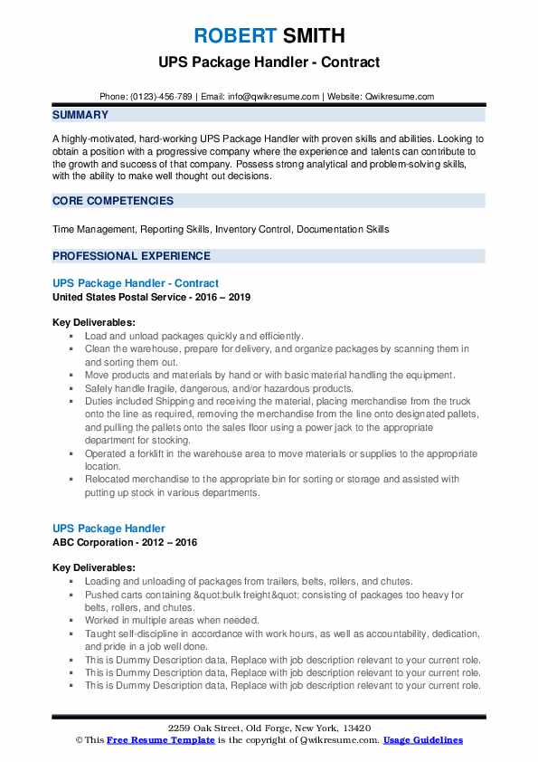 UPS Package Handler - Contract Resume Template