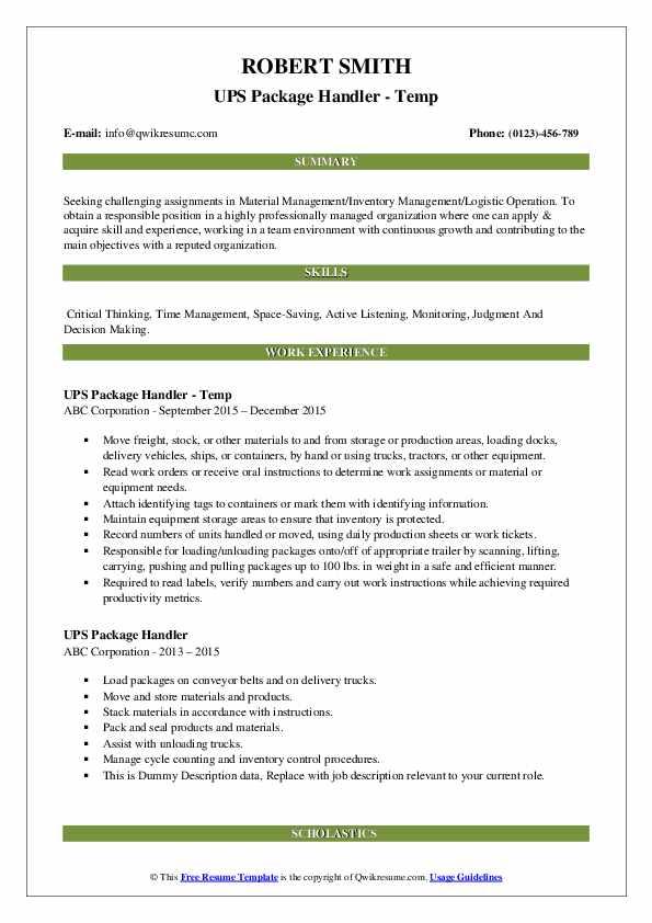 UPS Package Handler - Temp Resume Sample