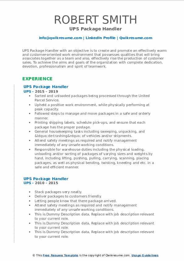 UPS Package Handler Resume Sample