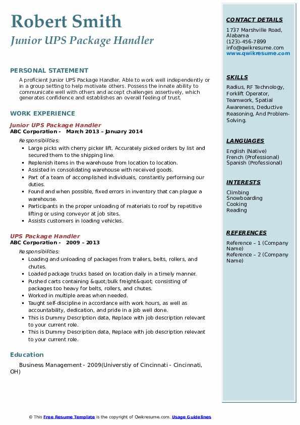 Junior UPS Package Handler Resume Sample
