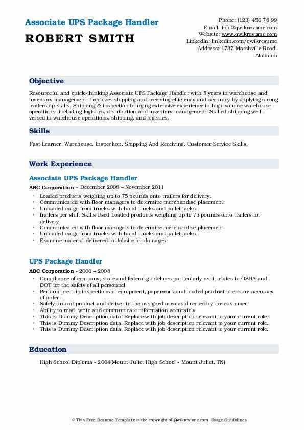 Associate UPS Package Handler Resume Format