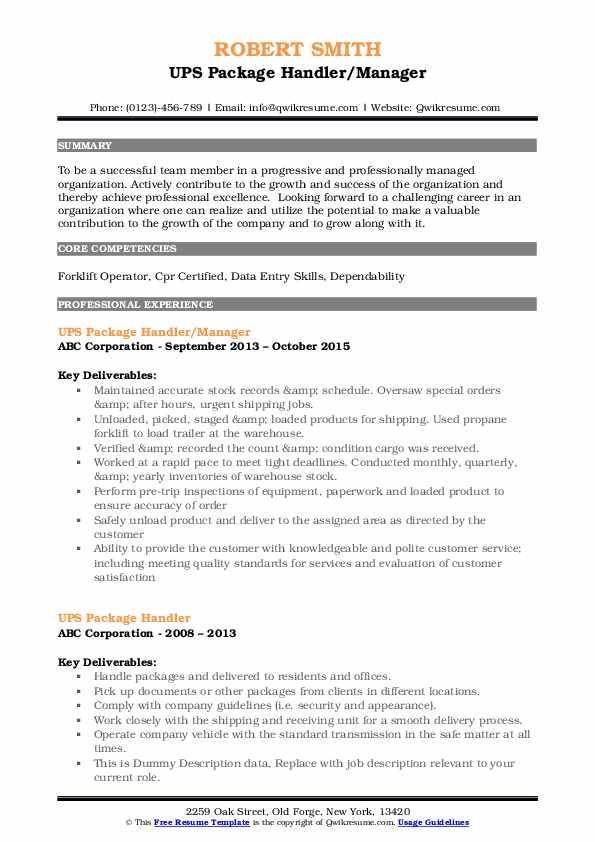 UPS Package Handler/Manager Resume Model