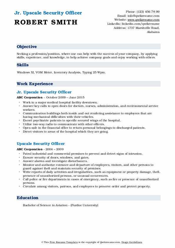 Jr. Upscale Security Officer Resume Format