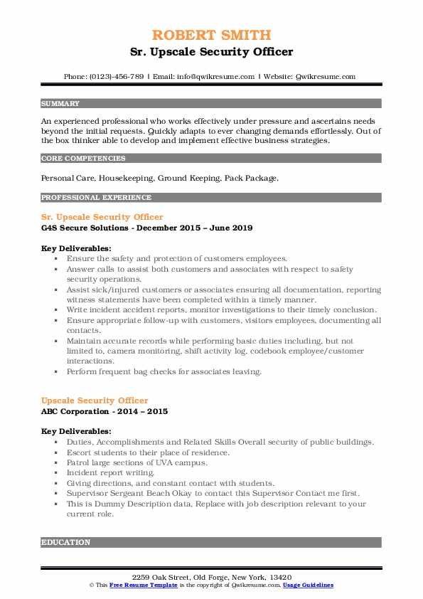 Sr. Upscale Security Officer Resume Template