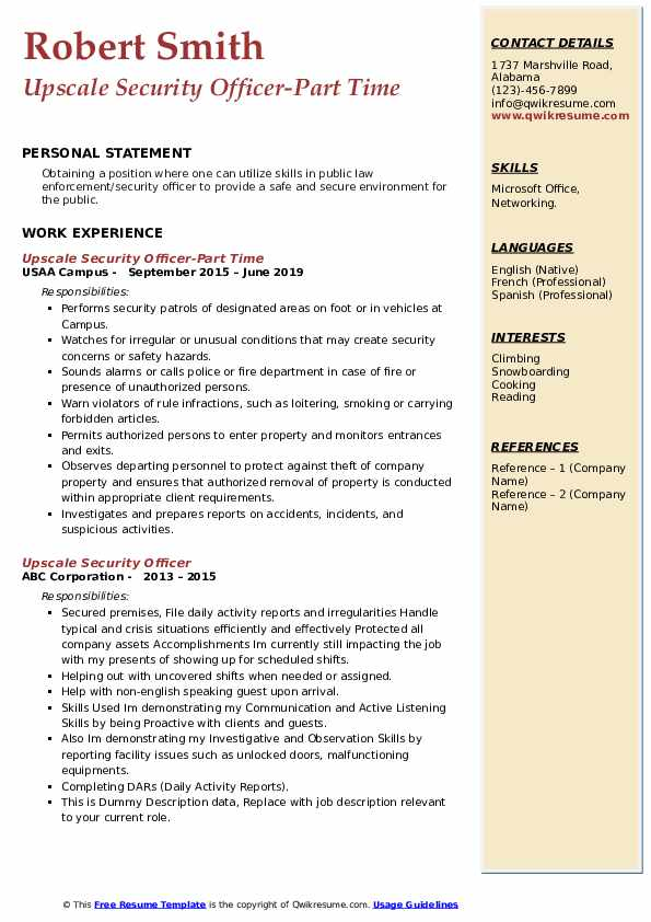 Upscale Security Officer-Part Time Resume Sample