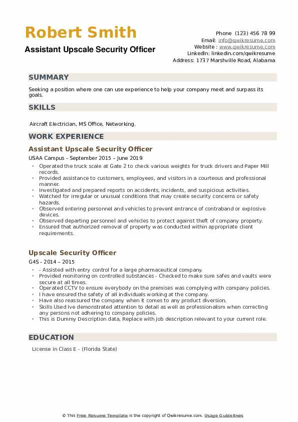 Assistant Upscale Security Officer Resume Format