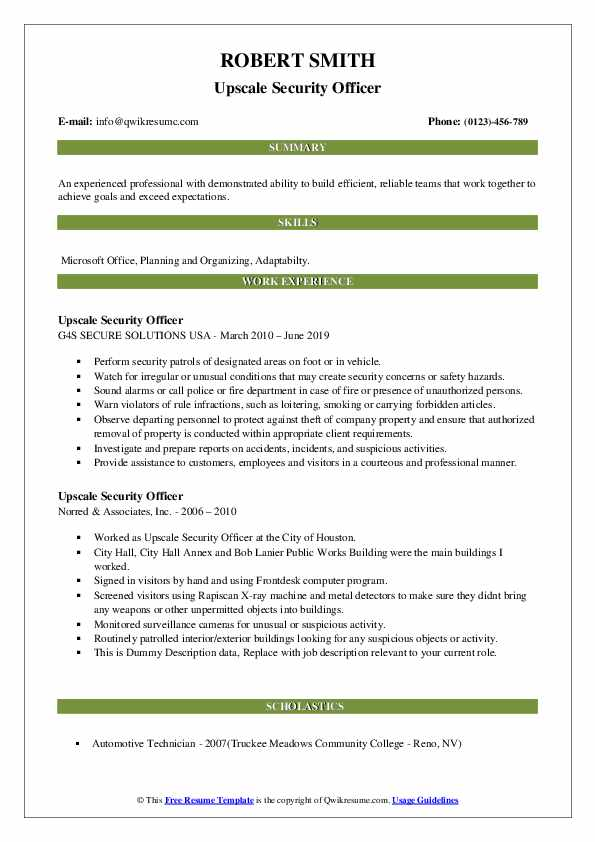 Upscale Security Officer Resume example