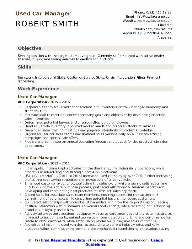 Used Car Manager Resume example