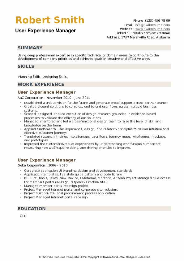 User Experience Manager Resume example