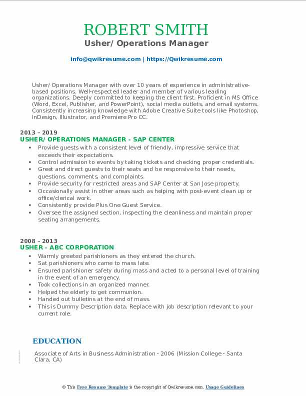 Usher/ Operations Manager Resume Template