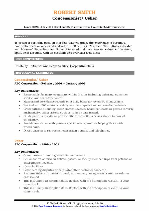 Concessionist/ Usher Resume Example