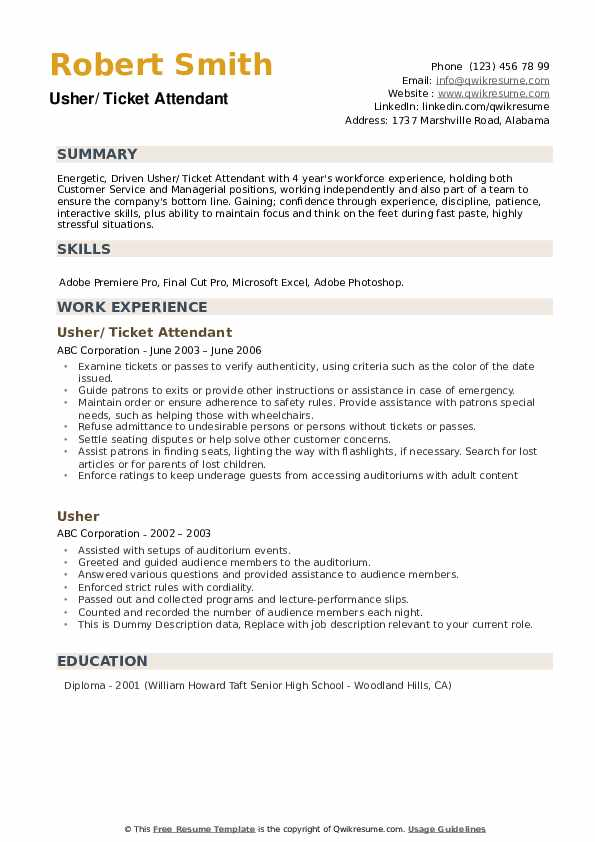 Usher Resume example