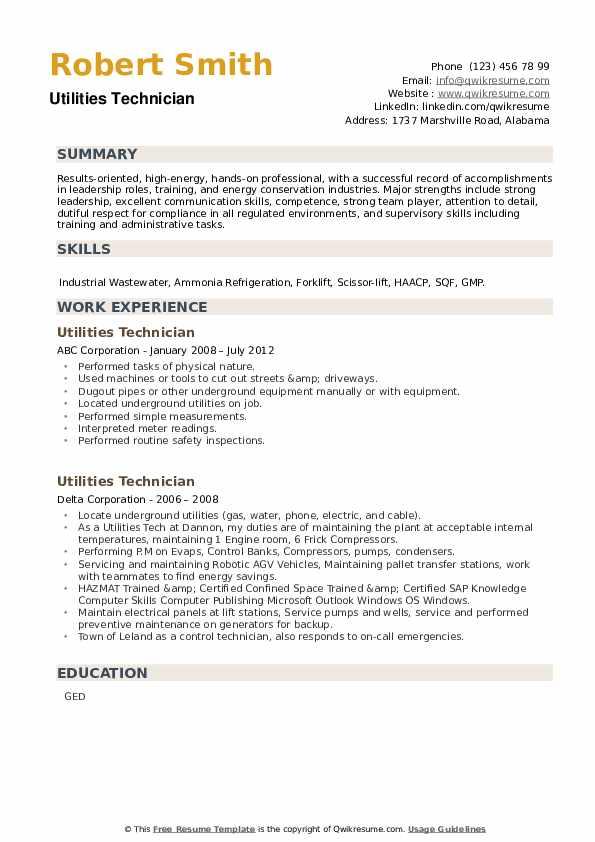 Utilities Technician Resume example