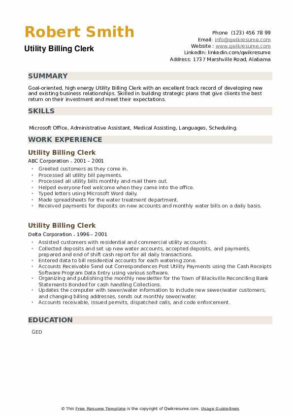 Utility Billing Clerk Resume example
