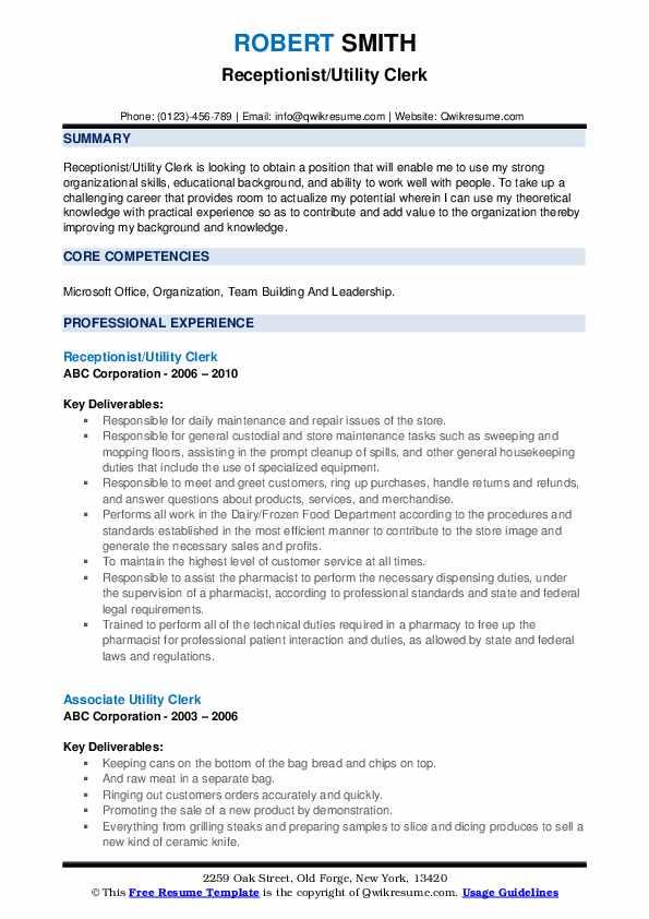 Receptionist/Utility Clerk Resume Model