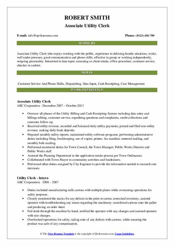 Associate Utility Clerk Resume Sample