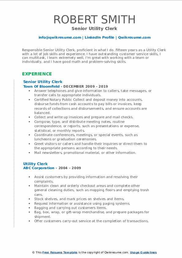 Senior Utility Clerk Resume Example