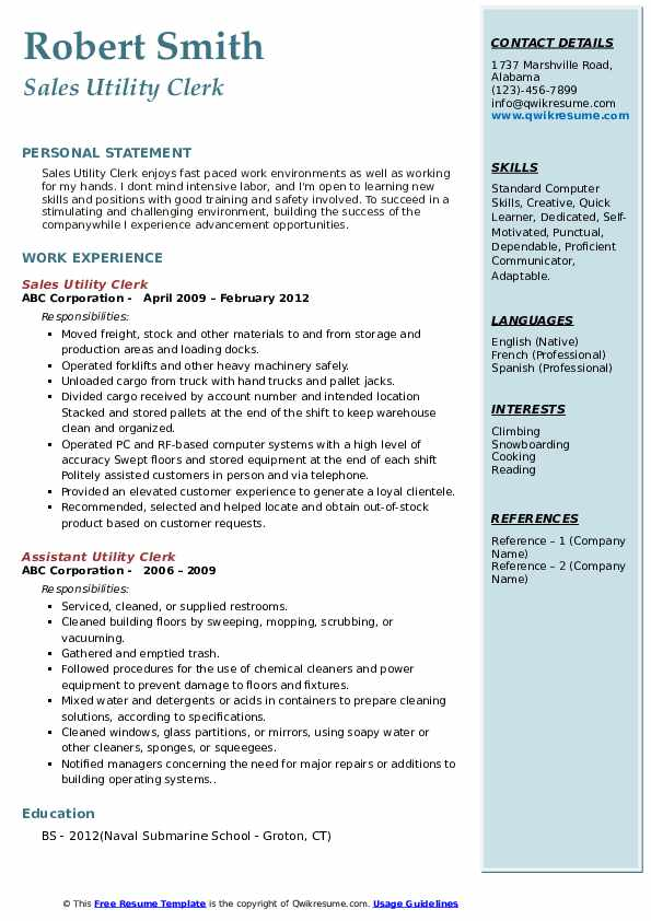 Sales Utility Clerk Resume Model