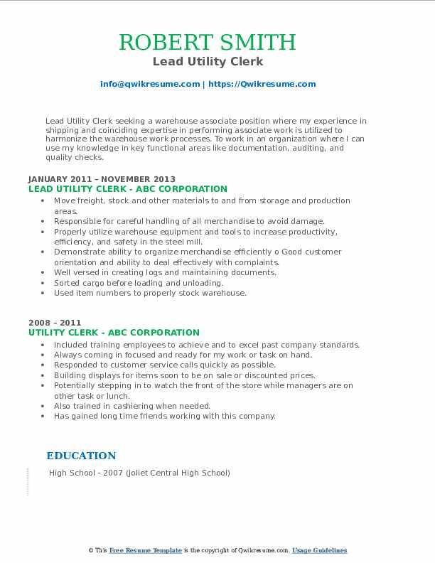 Lead Utility Clerk Resume Model