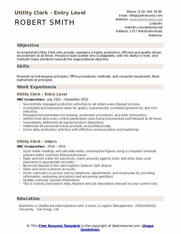 Utility Clerk - Entry Level Resume Template