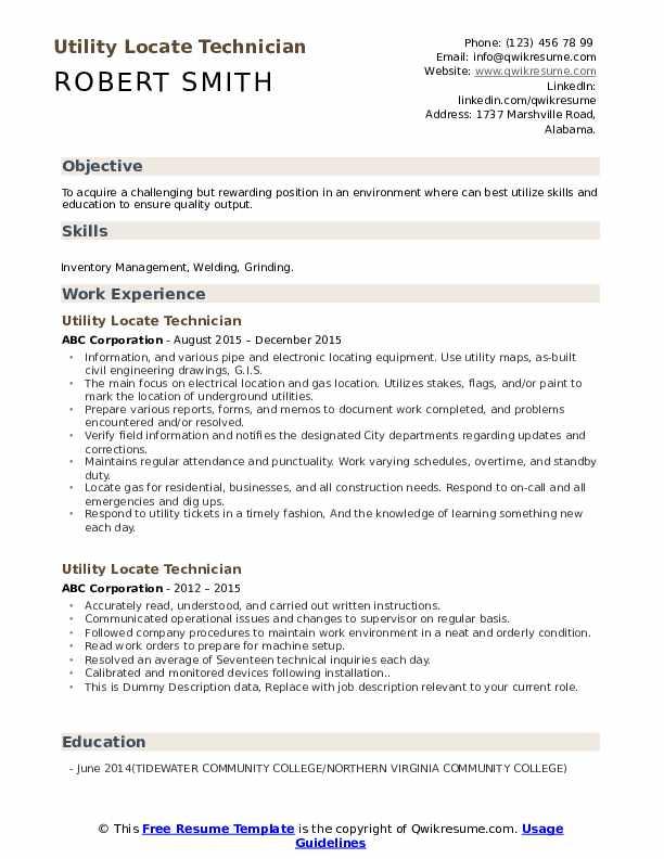 Utility Locate Technician Resume example