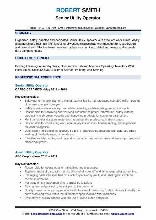 Senior Utility Operator Resume Template