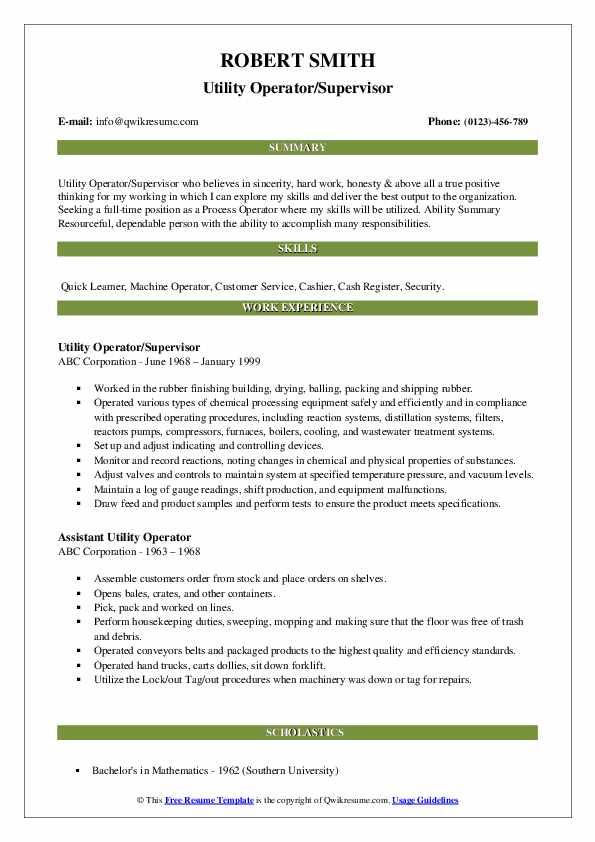 Utility Operator/Supervisor Resume Example
