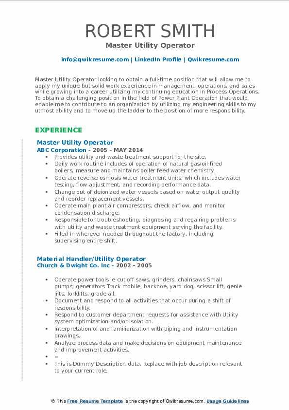 utility operator resume samples
