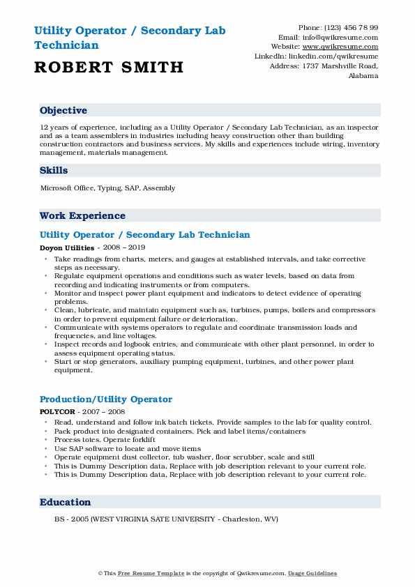 Utility Operator / Secondary Lab Technician Resume Model