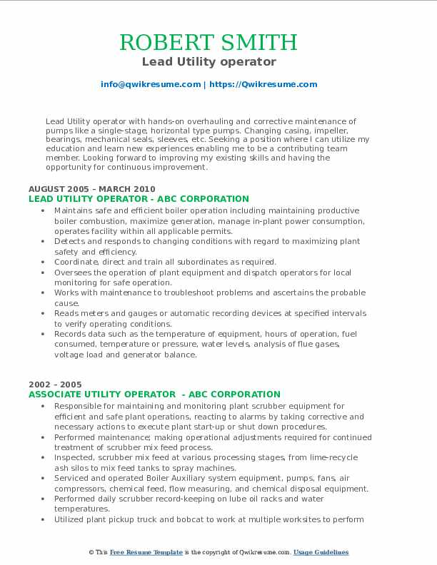 Lead Utility operator Resume Sample