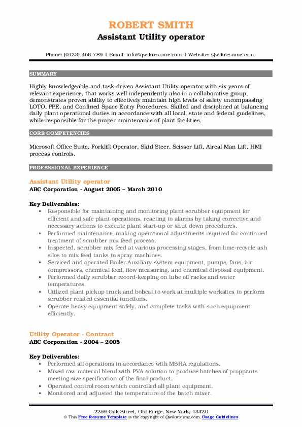 Assistant Utility operator Resume Example
