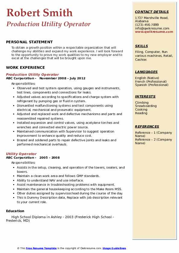 Production Utility Operator Resume Template