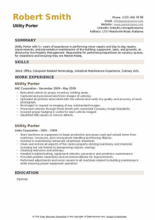 Utility Porter Resume example