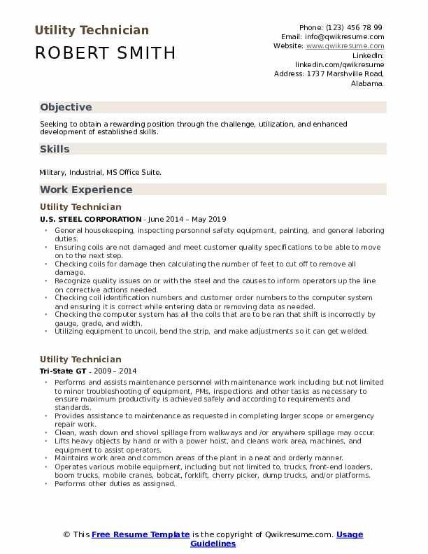 Utility Technician Resume Sample