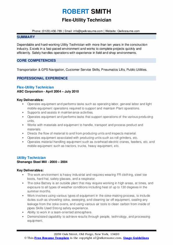 Flex-Utility Technician Resume Format